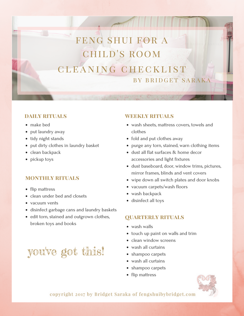 Feng Shui for a Child's Room Cleaning Checklist