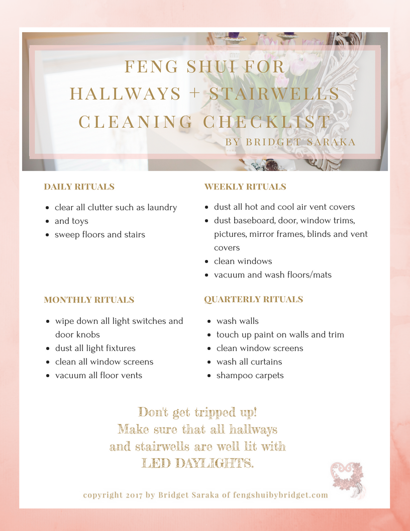 Feng Shui for Hallways + Stairwells Cleaning Checklist Printable