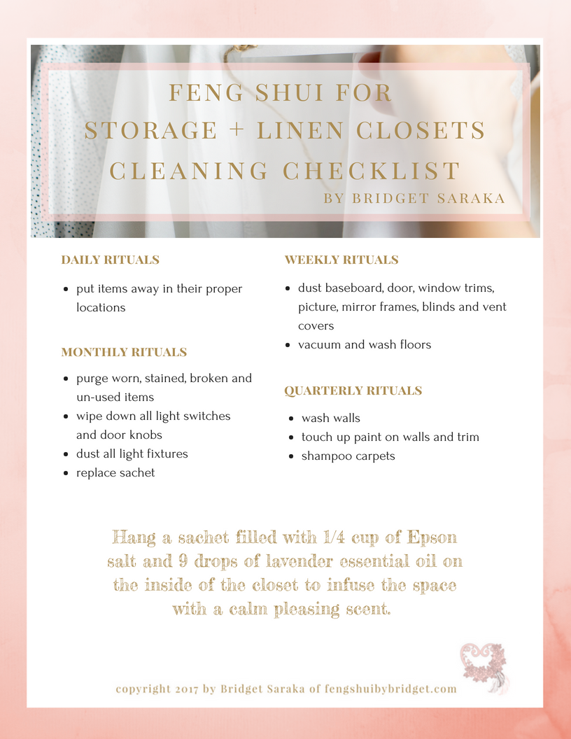 Feng Shui for Storage + Linen Closets Cleaning Checklist Printable