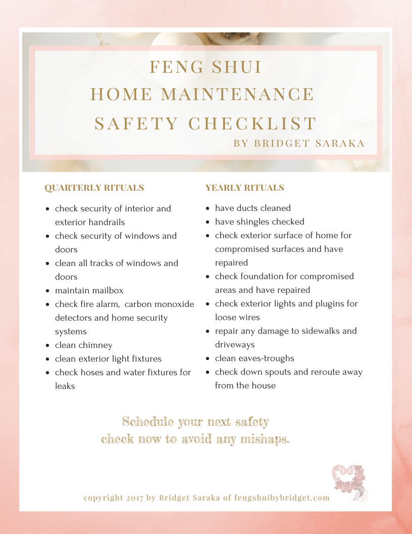 Feng Shui Home Maintenance Safety Checklist Printable