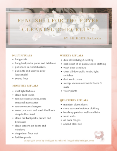 Feng Shui for the Foyer Cleaning Checklit Printable