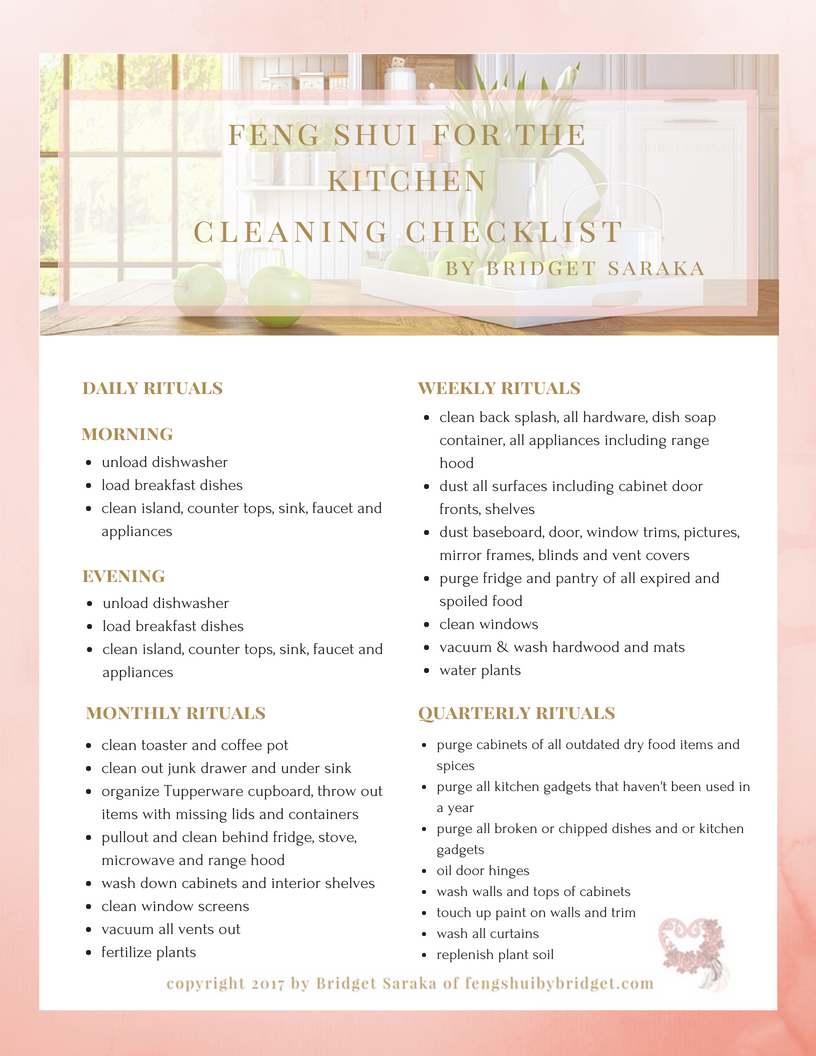 feng shui for the kitchen cleaning checklist - Kitchen Cleaning Checklist