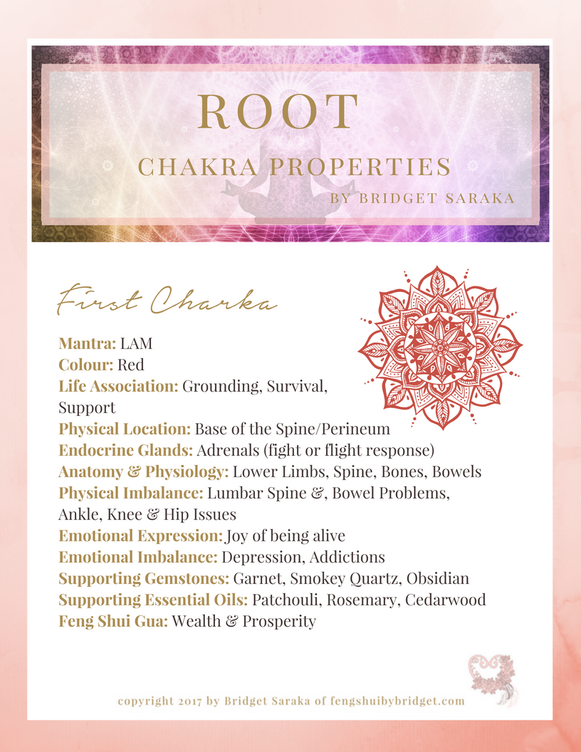 Root Chakra Properties - Feng Shui by Bridget