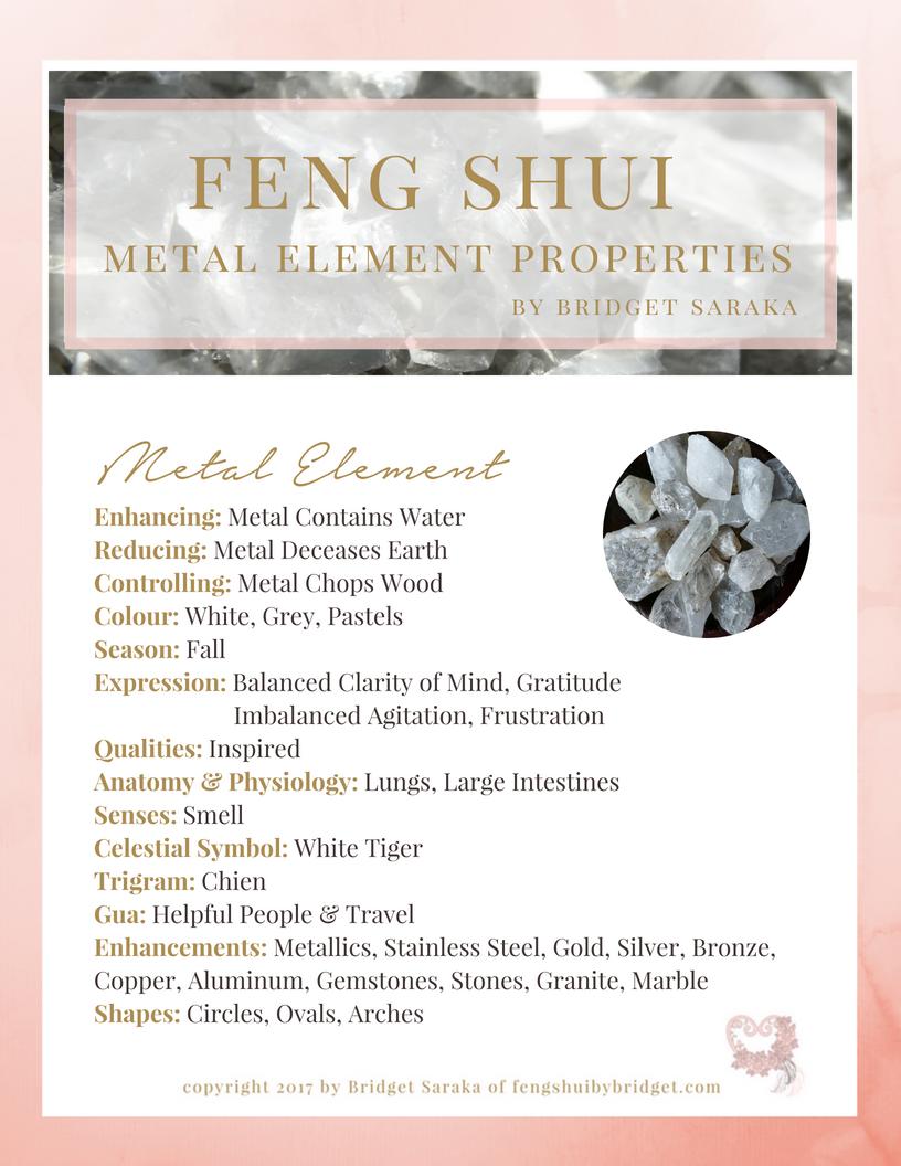feng shui five element properties metal element feng shui by bridget. Black Bedroom Furniture Sets. Home Design Ideas