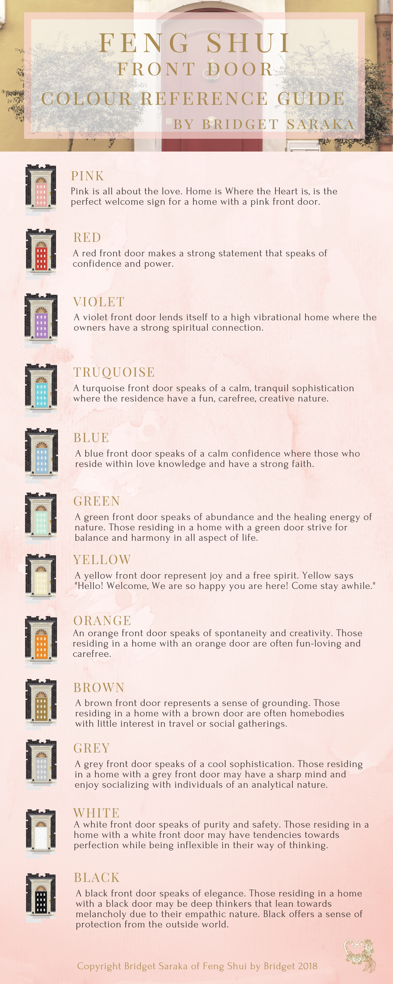 Feng Shui Front Door Colour Reference Guide Feng Shui By Bridget